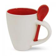 Бело красная  кружка с ложкой