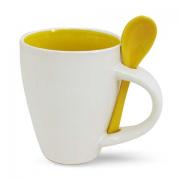 Бело желтая кружка с ложкой